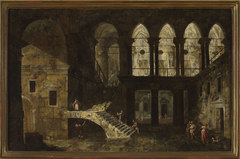 Architectural fantasy featuring a palace courtyard