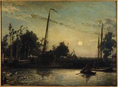 Bateau en construction en bord de canal, Paysage hollandais
