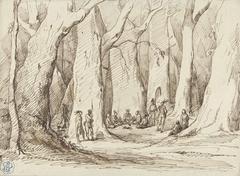 Bijeenkomst van indianen in een hoog bos