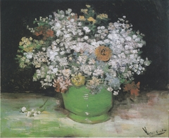 Bowl with Zinnias and Other Flowers