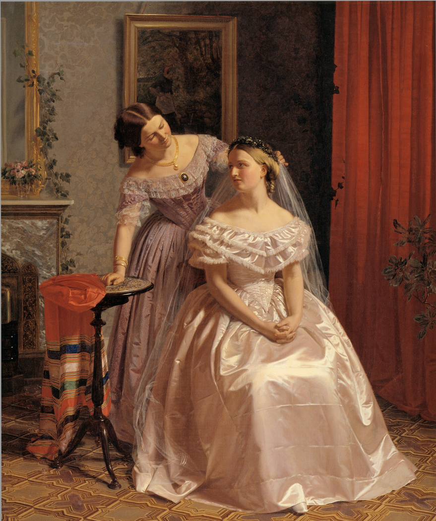 The Bride is Embellished by her girl friend (Bruden smykkes af sin veninde)