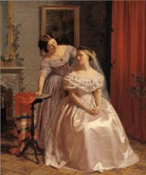 The Bride is Embellished by her girl friend (Bruden smykkes af sin veninde)