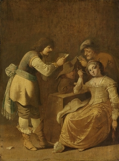 Card players with woman smoking a pipe