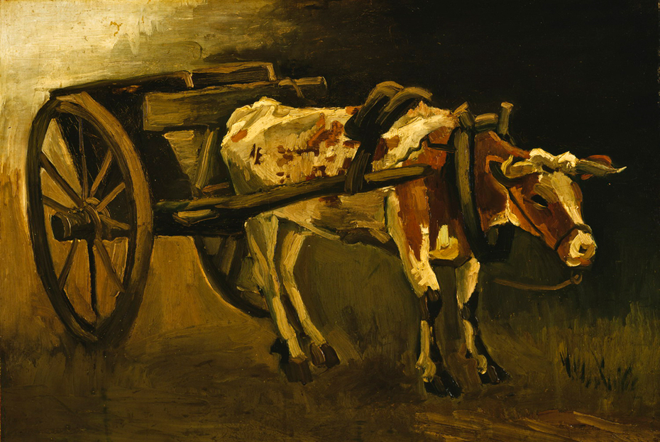 Cart with Reddish-Brown Ox