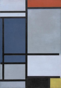 Composition with Red Blue Black Yellow and Gray