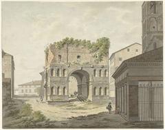 De boog van Janus quadrifons en een deel van de S. Giorgio in Velabro te Rome