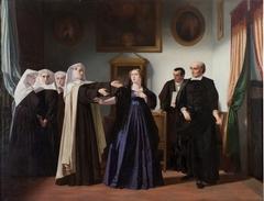 Doña Mariana de Pineda en el momento de despedirse de las beatas de Santa María Egipciaca en cuyo beaterio estaba presa para ir a la capilla