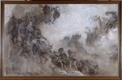 Esquisse pour le plafond de l'amphithéâtre de paléontologie du Museum d'histoire naturelle de Paris : Les Races humaines (Plafond)