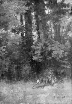 Fighting Stags in a Forest
