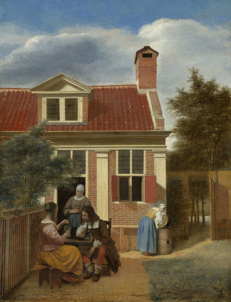 Figures in a Courtyard behind a House