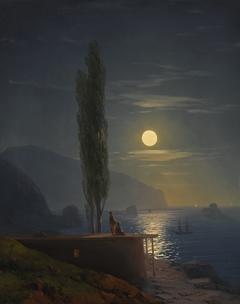 Figures on a moonlit coast