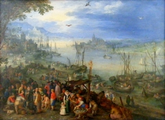 Fish market on the banks of a river