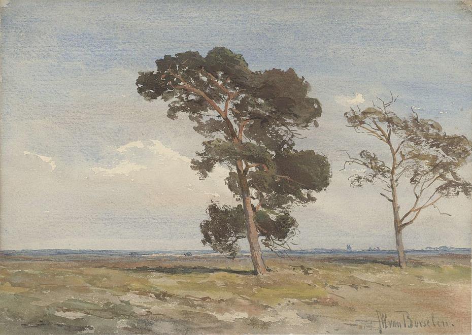 Gezicht op de heide met twee bomen
