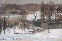 Gezicht op het Oosterpark te Amsterdam in de sneeuw