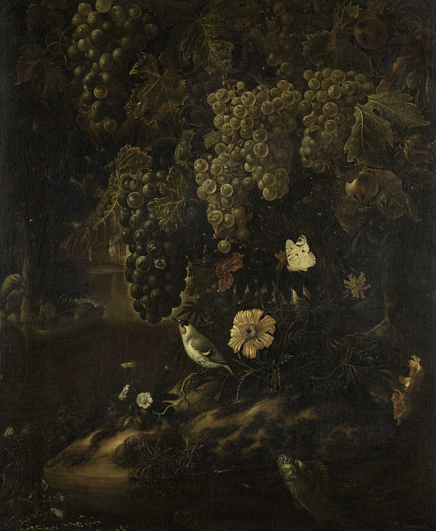 Grapes, Flowers and Animals