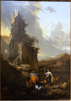 Italianate Landscape with Animals, a Shepherd, and a Peasant Woman Holding a Distaff