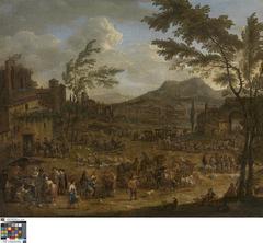 Italianiserend landschap met markttafereel