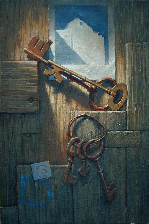 Открытка дверь с ключом, рыбалке