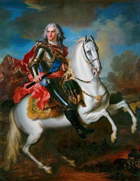 König August II. von Polen (1670-1733) zu Pferde