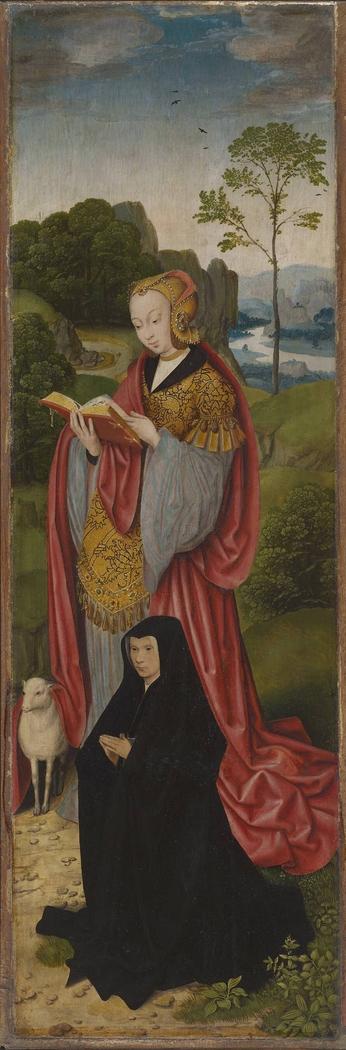 Kreuzigungsaltar: Hl. Agnes und Stifterin