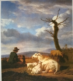 Landscape with Sheep and Shepherd