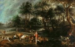 Landschaft mit Kühen und Entenjägern