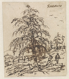 Landschap met houthakker onder boom