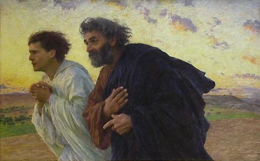 Les Disciples Pierre et Jean courant au sépulcre le matin de la Résurrection