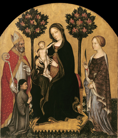 Madonna with Child and St Catherine, St Nicolas and Donor