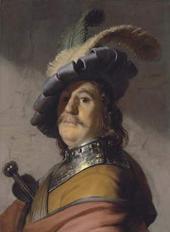 Man in a gorget and a plumed cap