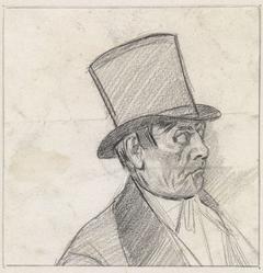 Man met hoge hoed en pijp in de mond