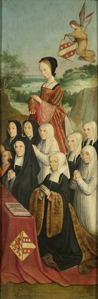 Memorial Panel with Nine Female Portraits, probably Kathrijn Willemdsdr van der Graft and Family, with Saint Mary Magdalene and the Van Soutelande Family and Van der Graft-Van Soutelande Crests, inner right wing of an altarpiece