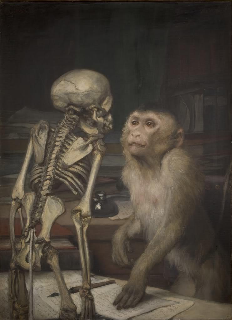 Monkey before skeletton