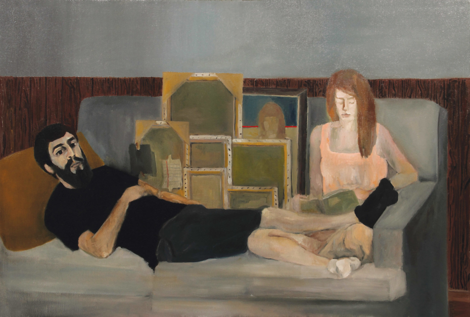 Mr and Mrs P                                  (Oil on canvas 35 x 50 cm)