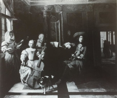 Musical company with a dog in an interior