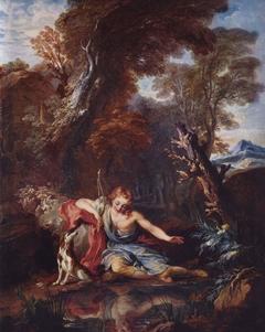 Narcisse contemple son reflet dans l'eau