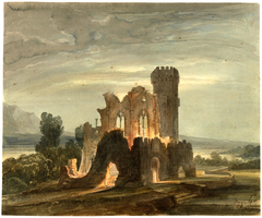 Night Landscape with Monastery in Ruins