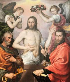Notre Seigneur, deux anges et deux saints