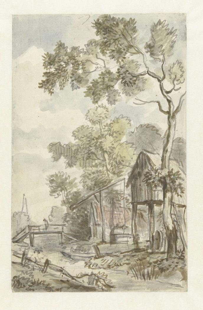 Ontwerp voor behangselschildering met Hollands landschap