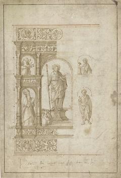 Ontwerp voor een altaarstuk met vijf compartimenten