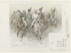 Ontwerp voor illustratie voor De Kolossus der Negentiende Eeuw door P.J. Andriessen (Textill., blz. 44); scène uit het leven van Napoleon