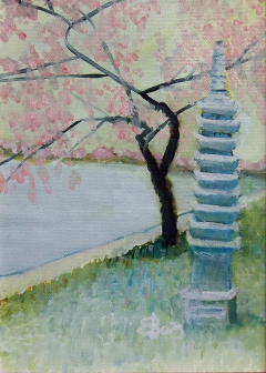 original Oil on Canvas, DC Pagoda