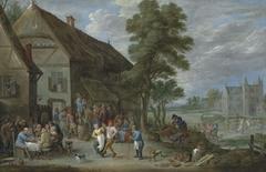 Peasants dancing outside an inn at Perck, with the Kasteel de Drij Toren beyond