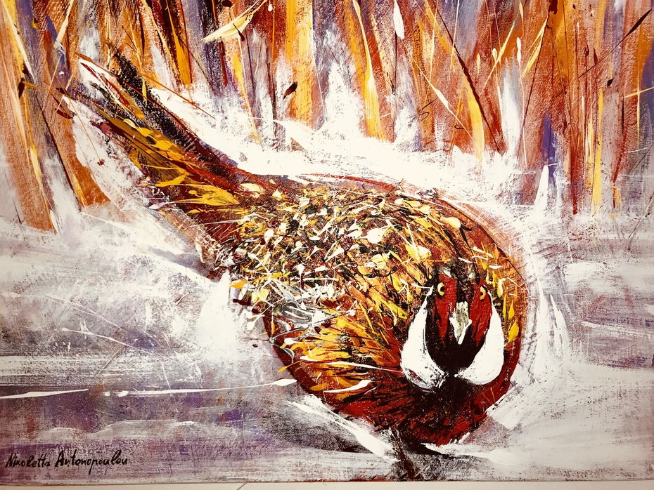 """""""Pheasant on the snow """" year of the creation 2017"""