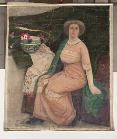Portrait of a lady in a pink dress (Wanda Popławska)