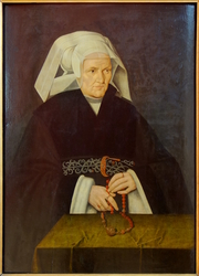 Portrait of a woman, wearing a white cornette and holding a rosary