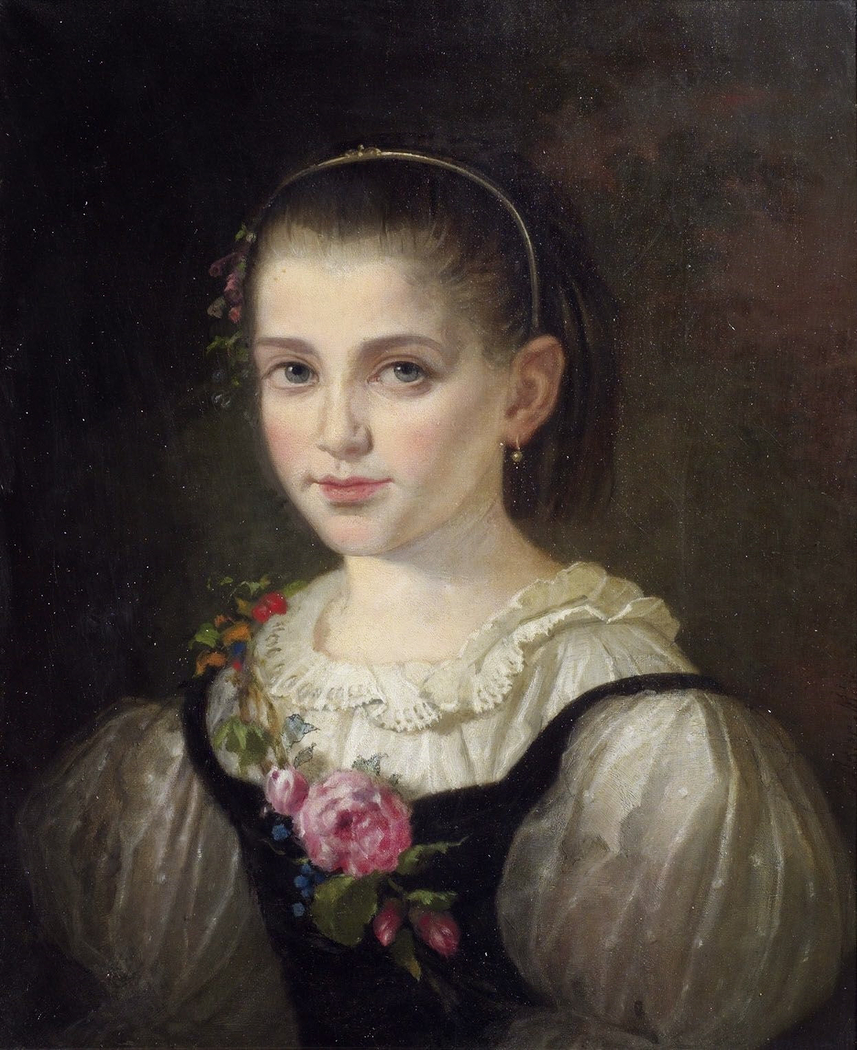 Portrait of a young Girl wearing silk Dress with Rose