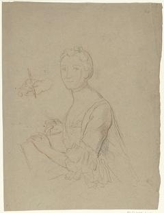 Portret van een dame met papier en stift