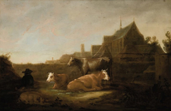 River landscape with Herder and Cows and a View of Utrecht with 'Duitse Huis kerk' and the Mariakerk