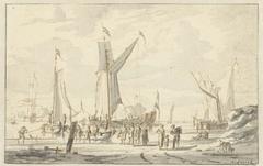 Roeiboten en een schip